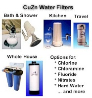 CuZn Water Filters for Kitchen, Bathroom, Travel, Whole House and Water Softeners